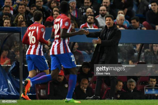 Diego Simeone of Club Atletico de Madrid gestures during the UEFA Champions League Round of 16 second leg match between Club Atletico de Madrid and...