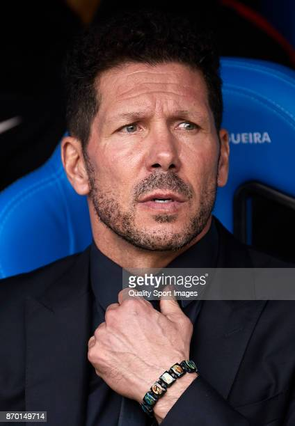 Diego Simeone the manager of Atletico de Madrid looks on prior to the La Liga match between Deportivo La Coruna and Atletico Madrid at Riazor Abanca...