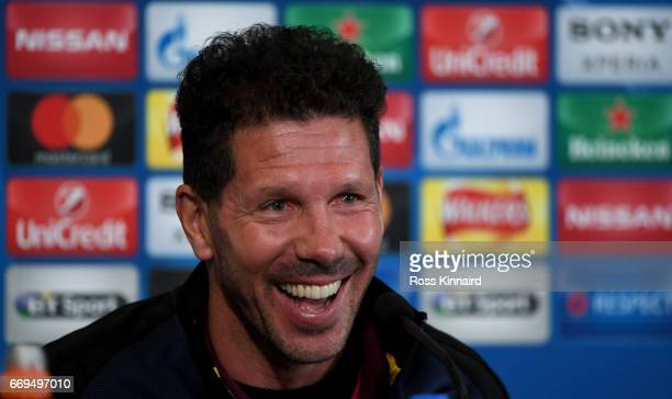 Diego Simeone the Manager of Atletico Madrid faces the cameras during a press conference at The King Power Stadium on April 17 2017 in Leicester...