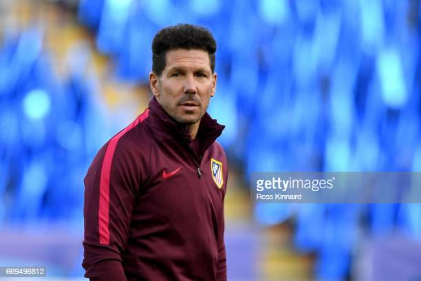 Diego Simeone the Manager of Atletico Madrid pictured during a training session at The King Power Stadium on April 17 2017 in Leicester England