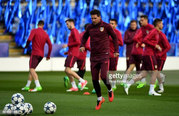 Diego Simeone the manager of Atletico Madrid pictured during a training session at The King Power Stadium prior to their Champions League match on...
