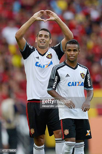 Diego Souza and Elber of Sport Recife celebrates a scored goal during the match between Flamengo and Sport Recife as part of Brasileirao Series A...