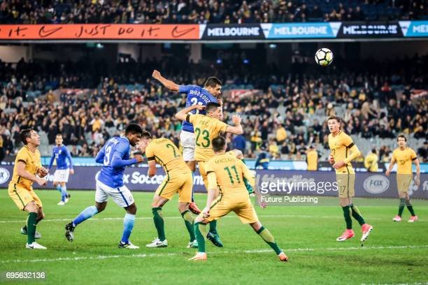 Diego Souza heads in Brazil's 4th goal as Brazil beat Australia in the Chevrolet Brasil Global Tour 2017 on June 13 2017 in Melbourne Australia Chris...