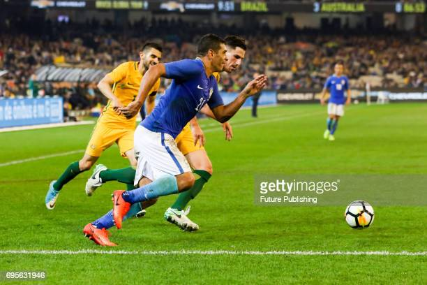 Diego Souza of Brazil sprints towards the Australian penalty area as Brazil plays Australia in the Chevrolet Brasil Global Tour 2017 on June 13 2017...