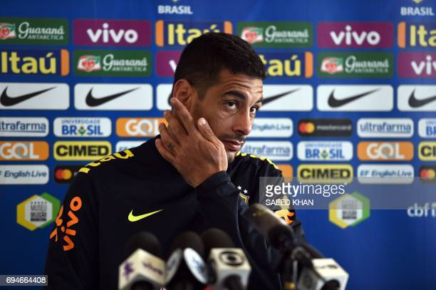 Diego Souza of Brazil takes part in a press conference in Melbourne on June 11 ahead of their football friendly against Australia on June 13 / AFP...