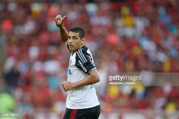 Diego Souza of Sport Recife celebrates a scored goal during the match between Flamengo and Sport Recife as part of Brasileirao Series A 2015 at...