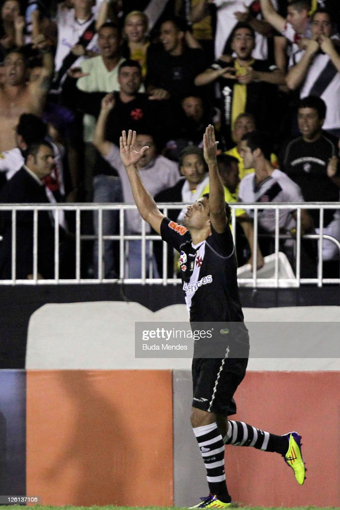 Diego Souza of Vasco celebrates a scored goal against Atletico GO during a match as part of Serie A 2011 at Sao Januario stadium on September 22 2011...