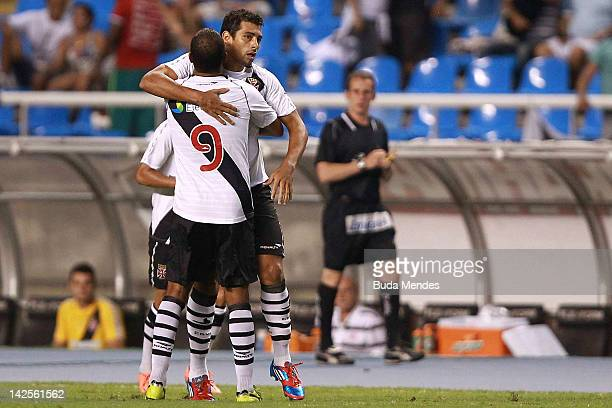 Diego Souza of Vasco celebrates a scored goal during a match between Flamengo and Vasco as part of Rio State Championship 2012 at Engenhao stadium on...
