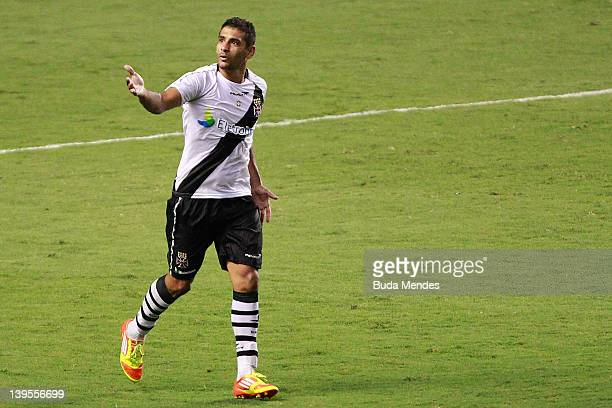Diego Souza of Vasco celebrates a scored goal during the semifinal match as part of Rio State Championship 2012 at Engenhao Stadium on February 22...