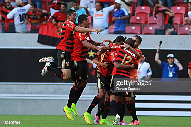 Diego Souza Patric Danilo and Joelinton of Sport Recife celebrates his goal during the Brasileirao Series A 2014 match between Sport Recife and Sao...