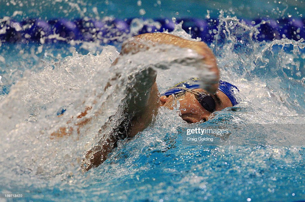 Diego Stelzer of Brazil swims the 3rd leg during the final of the mens 400m freestyle at the Aquatic Centre at Sydney Olympic Park Sports Centre on January 19, 2013 in Sydney, Australia.