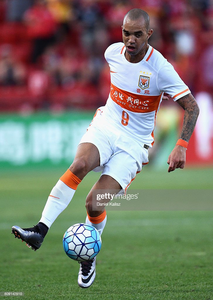 Diego Tardelli Martins of Shandong Luneng controls the ball during the AFC Champions League playoff match between Adelaide United and Shandong Luneng at Coopers Stadium on February 9, 2016 in Adelaide, Australia.