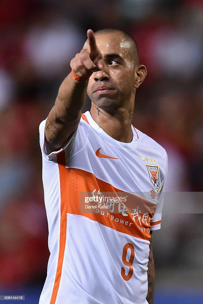 Diego Tardelli Martins of Shandong Luneng reacts during the AFC Champions League playoff match between Adelaide United and Shandong Luneng at Coopers Stadium on February 9, 2016 in Adelaide, Australia.