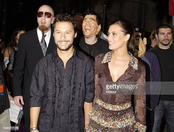 Diego Torres and guest Angie Cepeda during MTV Video Music Awards Latinoamerica 2002 Arrivals at Jackie Gleason Theater in Miami Florida United States