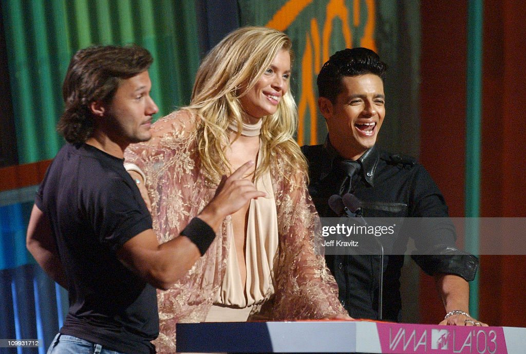 Diego Torres, Esther Canadas and Robi Rosa during MTV Video Music Awards Latin America 2003 - Live Telecast at Jackie Gleason Theater in Miami Beach, Florida, United States.