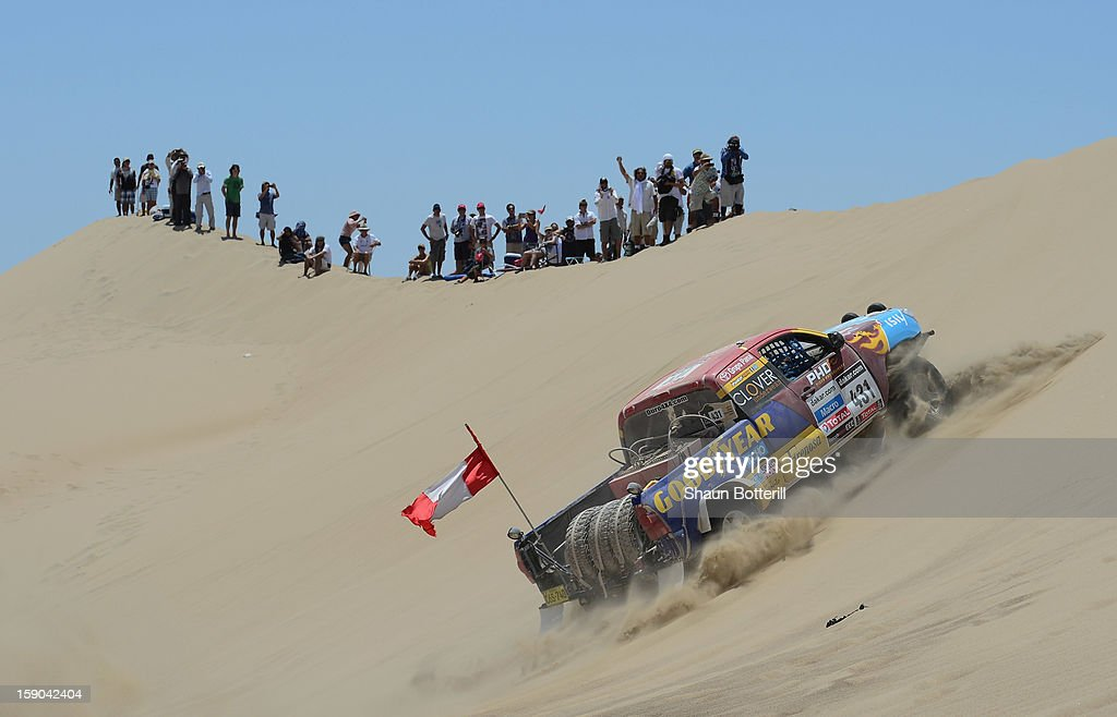 Diego Weber and co-pilot Alonso Carrillo of team Toyota compete during the stage from Pisco to Pisco on day two of the 2013 Dakar Rally on January 6, 2013 in Pisco, Peru.