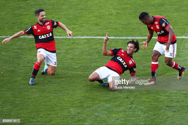 Diego Willian Aro and Orlando Berro of Flamengo celebrate a scored goal Atletico PR during a match between Flamengo and Atletico PR as part of...