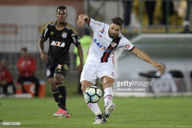 Diego of Flamengo in action during the match between Flamengo and Ponte Preta as part of Brasileirao Series A 2017 at Ilha do Urubu Stadium on June...