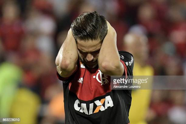 Diego of Flamengo reacts during the match between Flamengo and Bahia as part of Brasileirao Series A 2017 at Ilha do Urubu Stadium on October 19...