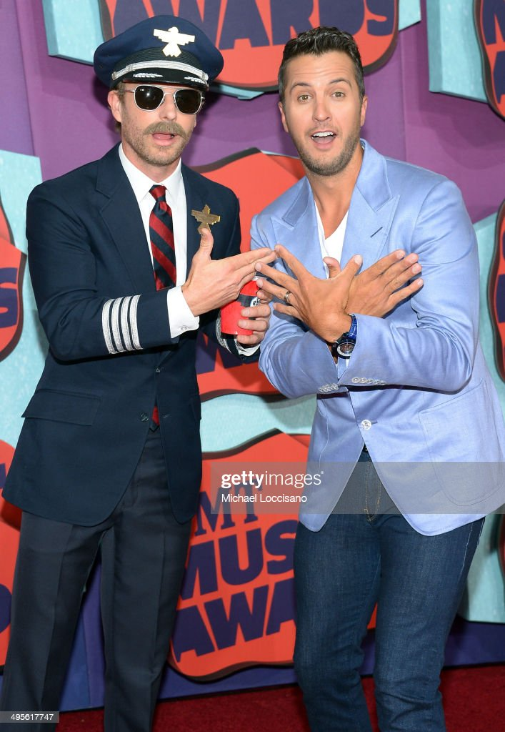 Dierks Bentley and Luke Bryan attend the 2014 CMT Music awards at the Bridgestone Arena on June 4 2014 in Nashville Tennessee