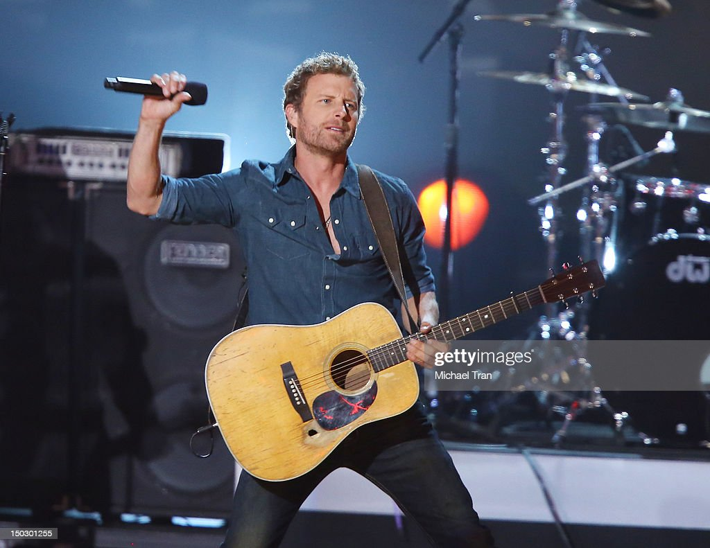 <a gi-track='captionPersonalityLinkClicked' href=/galleries/search?phrase=Dierks+Bentley&family=editorial&specificpeople=243007 ng-click='$event.stopPropagation()'>Dierks Bentley</a> perform onstage at the 'Teachers Rock' benefit event held at Nokia Theatre L.A. Live on August 14, 2012 in Los Angeles, California.