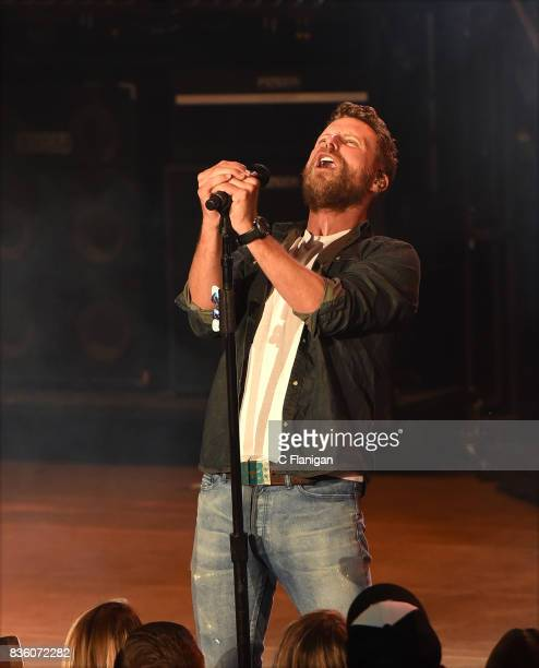 Dierks Bentley performs during his 'What The Hell' world tour at Shoreline Amphitheatre on August 20 2017 in Mountain View California