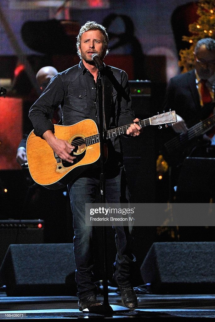 <a gi-track='captionPersonalityLinkClicked' href=/galleries/search?phrase=Dierks+Bentley&family=editorial&specificpeople=243007 ng-click='$event.stopPropagation()'>Dierks Bentley</a> performs during the 2012 Country Christmas at the Bridgestone Arena on November 3, 2012 in Nashville, United States.