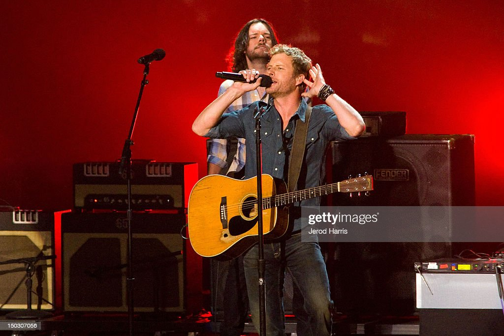 <a gi-track='captionPersonalityLinkClicked' href=/galleries/search?phrase=Dierks+Bentley&family=editorial&specificpeople=243007 ng-click='$event.stopPropagation()'>Dierks Bentley</a> performs onstage at the 'Teachers Rock' benefit event held at Nokia Theatre L.A. Live on August 14, 2012 in Los Angeles, California.