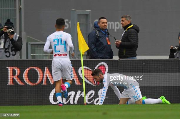 Dies Mertens of SSC Napoli celebrates after scoring the opening goal during the Serie A match between AS Roma and SSC Napoli at Stadio Olimpico on...