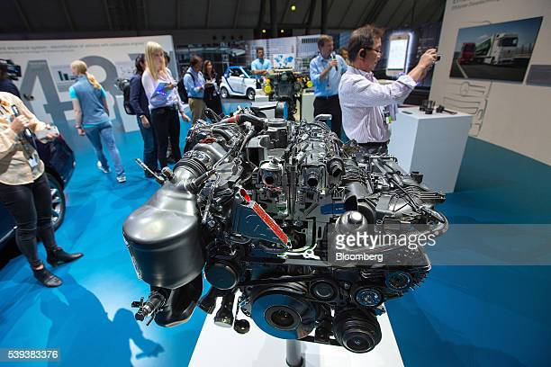 A diesel allaluminum 4cylinder OM 654 unit combustion engine sits on display during Daimler AG's TecDay Road to the Future event in Stuttgart Germany...