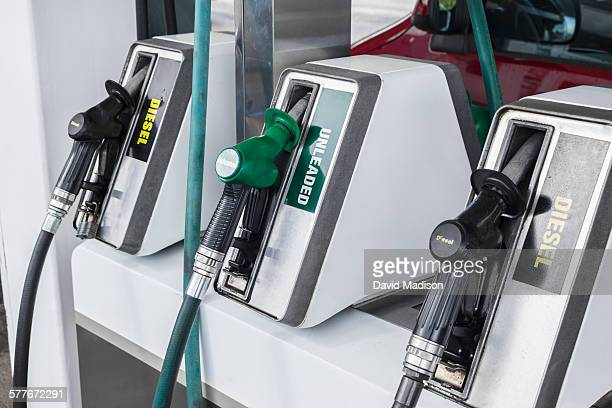 Diesel and unleaded gas pumps