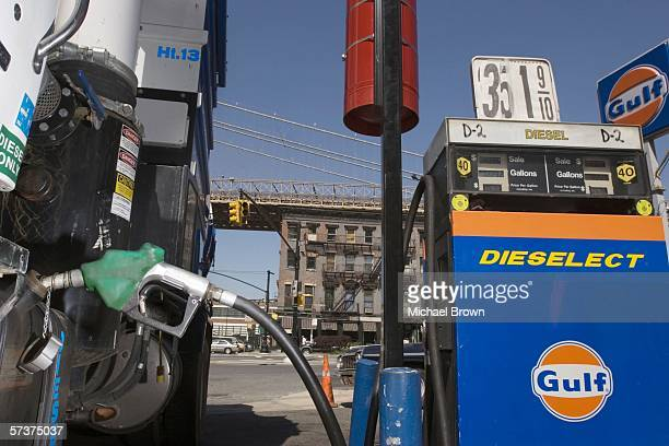 Diesel fuel is pumed into a truck's tank at a Gulf filling station on Old Fulton Street April 20 2006 in the Brooklyn borough of New York City Diesel...