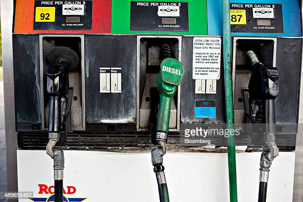 A diesel fuel pump center sits in a cradle at a gas station in Princeton Illinois US on Wednesday Sept 23 2015 Volkswagen AG Chief Executive Officer...