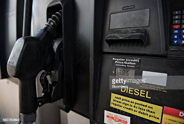 A diesel fuel pump sits outside a Road Ranger gas station in Princeton Illinois US on Tuesday June 17 2014 Gasoline in the US climbed this week...
