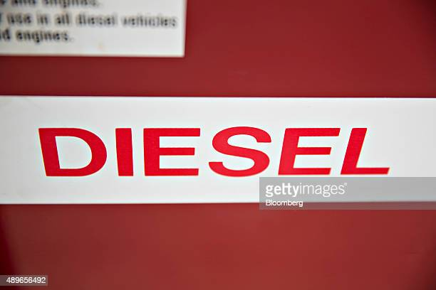 A diesel sticker is displayed on the side of a fuel pump in Tiskilwa Illinois US on Wednesday Sept 23 2015 Volkswagen AG Chief Executive Officer...