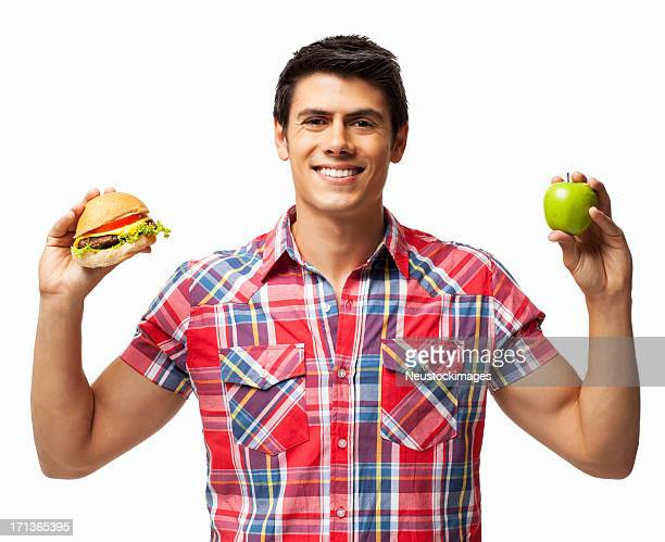 Diet Cravings Apple VS Hamburger - Isolated