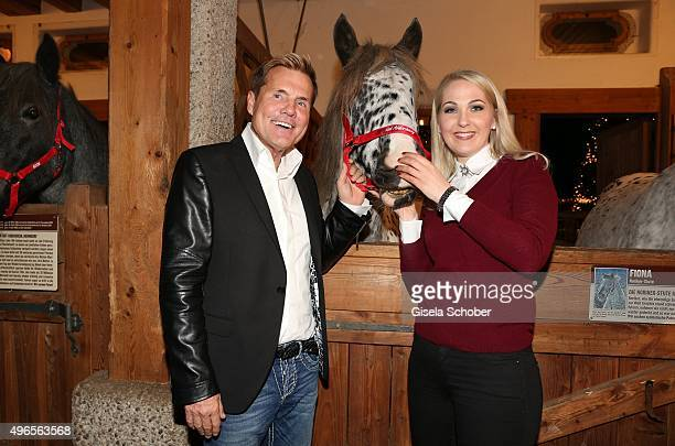 Dieter Bohlen and Kathrin Glock with a horse during the Gut Aiderbichl Christmas Market 2015 opening on November 10 2015 in Henndorf am Wallersee...