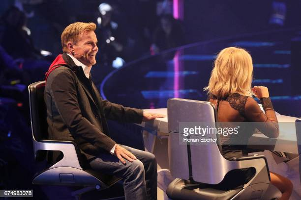 Dieter Bohlen and Michelle during the fourth event show and semi finals of the tv competition 'Deutschland sucht den Superstar' at Coloneum on April...