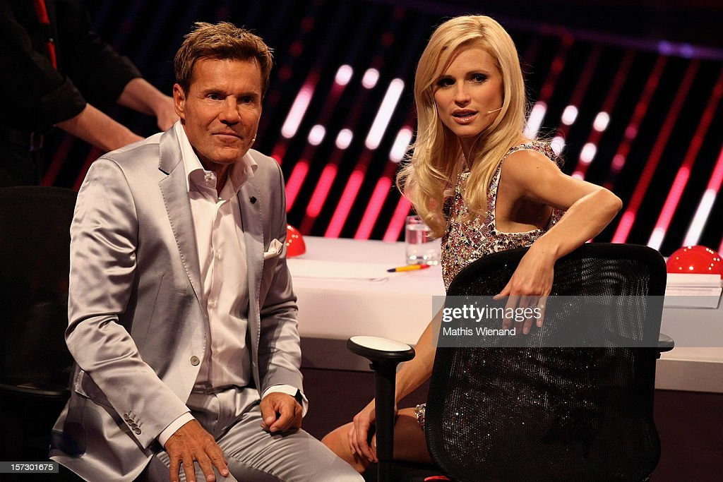 <a gi-track='captionPersonalityLinkClicked' href=/galleries/search?phrase=Dieter+Bohlen&family=editorial&specificpeople=801168 ng-click='$event.stopPropagation()'>Dieter Bohlen</a> and <a gi-track='captionPersonalityLinkClicked' href=/galleries/search?phrase=Michelle+Hunziker&family=editorial&specificpeople=577804 ng-click='$event.stopPropagation()'>Michelle Hunziker</a> attend the First Live Show of 'Das Supertalent' on December 1, 2012 in Cologne, Germany.