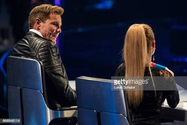 Dieter Bohlen and Michelle members of the jury performs during the second event show of the tv competition 'Deutschland sucht den Superstar' at...