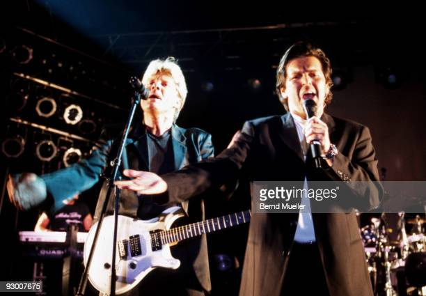 Dieter Bohlen and Thomas Anders of Modern Talking perform on stage at Babylon Kunstpark c 1998 in Munich Germany
