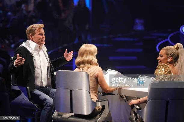 Dieter Bohlen Michelle and Shirin David during the finals of the tv competition 'Deutschland sucht den Superstar' at Coloneum on May 6 2017 in...