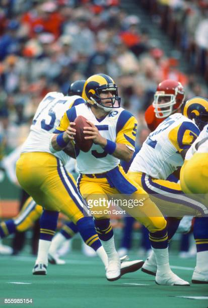 Dieter Brock of the Los Angeles Rams drops back to pass against the Kansas City Chiefs during an NFL football game October 20 1985 at Arrowhead...