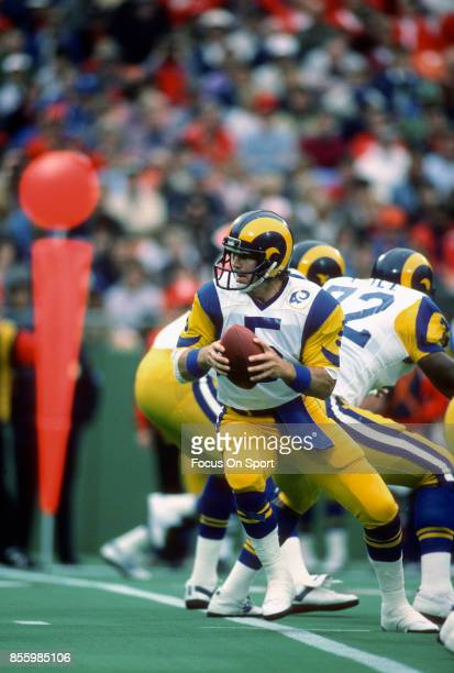 Dieter Brock of the Los Angeles Rams in action against the Kansas City Chiefs during an NFL football game October 20 1985 at Arrowhead Stadium in...