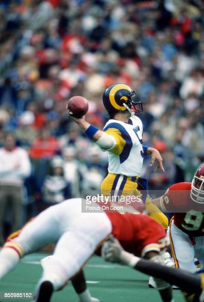 Dieter Brock of the Los Angeles Rams throws a pass against the Kansas City Chiefs during an NFL football game October 20 1985 at Arrowhead Stadium in...