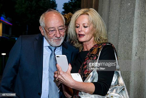 Dieter Hallervorden and Claudia Neidig attend the theatre premiere of 'Amadeus' with Dieter Hallervorden celebrating his 80th birthday on September 5...