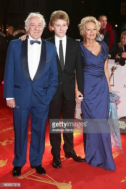 Dieter Hallervorden his grandson and Claudia Neidig attend 'Goldene Kamera 2013' at Axel Springer Haus on February 2 2013 in Berlin Germany