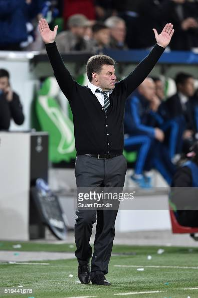 Dieter Hecking coach of Wolfsburg celebrates his team's 20 win at the final whistle during the UEFA Champions League Quarter Final First Leg match...
