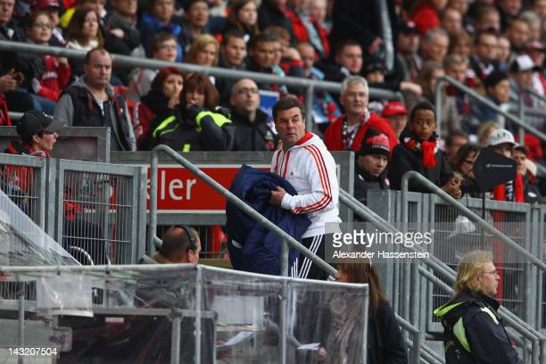 Dieter Hecking head coach of Nuernberg leaves the arena during the Bundesliga match between 1FC Nuernberg and Hamburger SV at Easy Credit Stadium on...