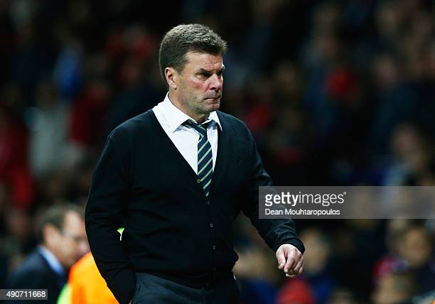 Dieter Hecking head coach of VfL Wolfsburg looks dejected after defeat in the UEFA Champions League Group B match between Manchester United FC and...